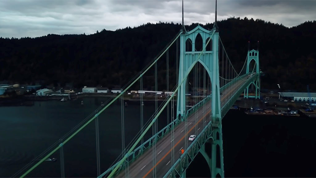 Video footage of the cars traveling on a bridge