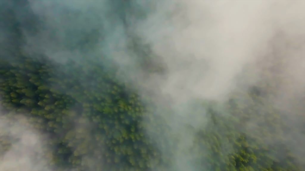Footage of the drone flying above the clouds with green forest below
