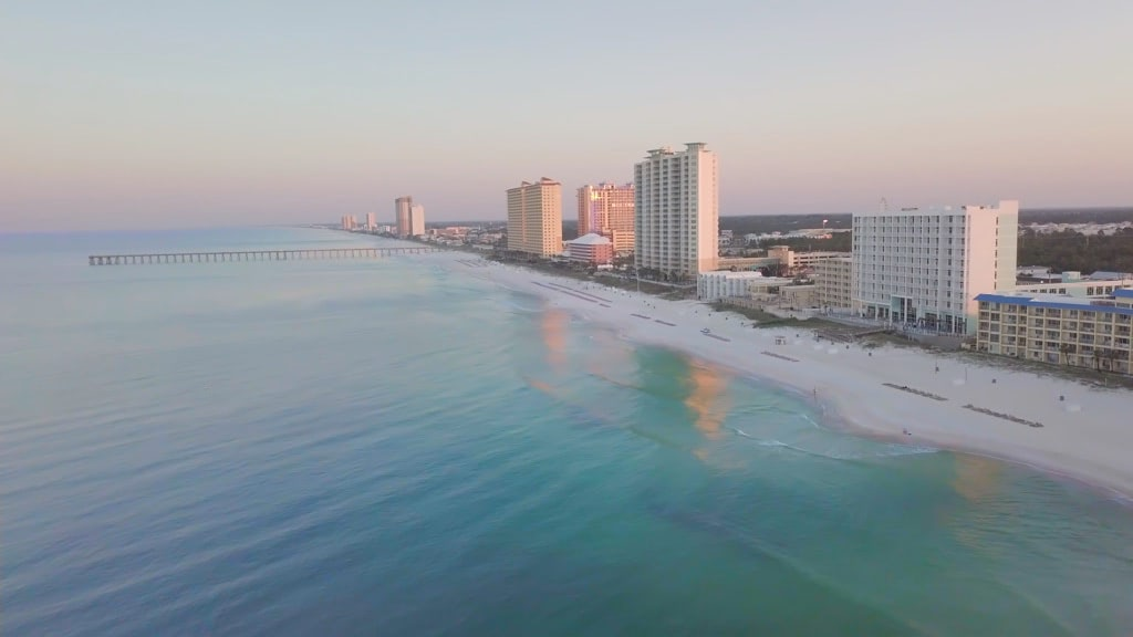 Panama city beach oceanside aerial view