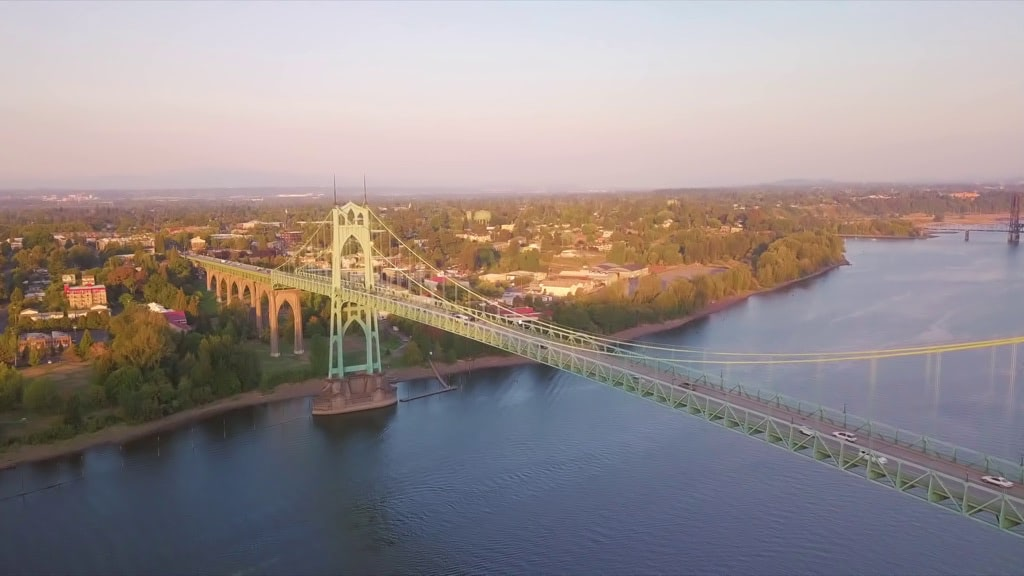 Aerial view of the St. Johns Bridge during sunset